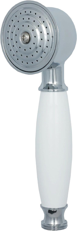 Pommeau de douche pommeau de douche style r/étro en chrome avec poign/ée blanc 070