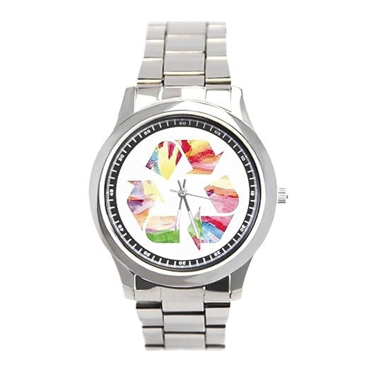 Para hombre muñeca reloj de pulsera, relojes Marcas Rainbow reciclar tiendas: Amazon.es: Relojes
