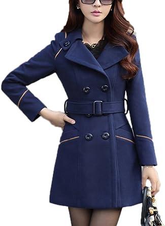 Winter Warm Womens Trench Coat Belt Parka Overcoat Jacket Double Breasted Slim