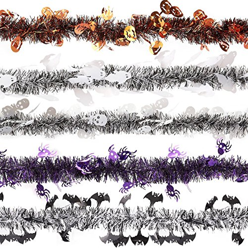 Set of 5 Tinsel Garland Decorations - Halloween Party Decorations, Plastic Garlands for Indoor, Outdoor Events, 5 Assorted Designs - 6.6 -