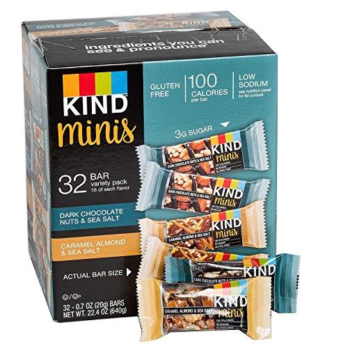 Kind Mini's 32 bar Variety Pack, Dark Chocolate Nuts & Sea Salt, Caramel Almond & Sea Salt, 16 of each flavor, 0.7 oz bars