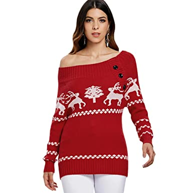 25a45d3556 PASSOSIE Christmas Sweater Fashion Women Sweater Knitwear Casual Strapless  Reindeer Tunic Winter Autumn Pullover Long Sleeve Floral Print Solid Color  Red  ...