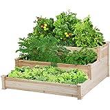 YAHEETECH 3 Tier Raised Garden Bed Wooden Elevated Garden Bed Kit for Vegetables Outdoor Indoor Solid Wood 49 x 49 x 21…
