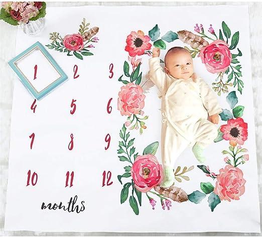 Newborn Photography Props Shoots Backdrop for Boys Girls, Meslio Baby Monthly Milestone Blanket 40x 40