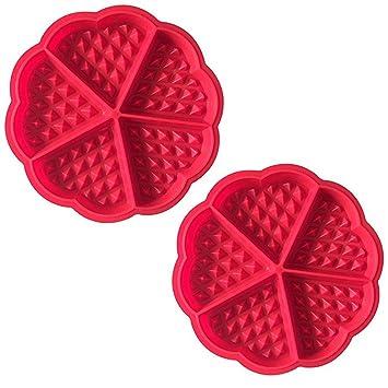 Demarkt Waffelform Waffel Backform Silikonbackform Backform mit guter Antihaftbeschichtung rot