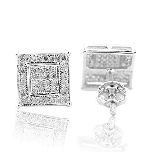 d13e9bcb11c89 8.5mm Wide Diamond Earrings Square Pave Set Sterling Silver Screw  Back(i2/i3, i/j)