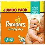 Pampers Simply Dry Pannolini Midi, Taglia 3 (4-9 kg), 2 Confezioni da 90, 180 Pezzi