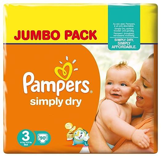 728 opinioni per Pampers Simply Dry, 180 Pannolini, Taglia 3 (4-9 kg), 2 confezioni da 90