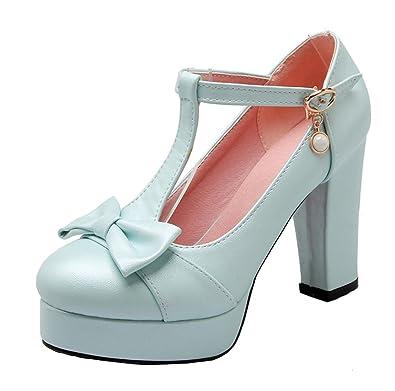 Agodor Damen T-Spangen Riemchen Pumps mit Plateau und Schleife Blockabsatz High Heels Rockabilly Schuhe