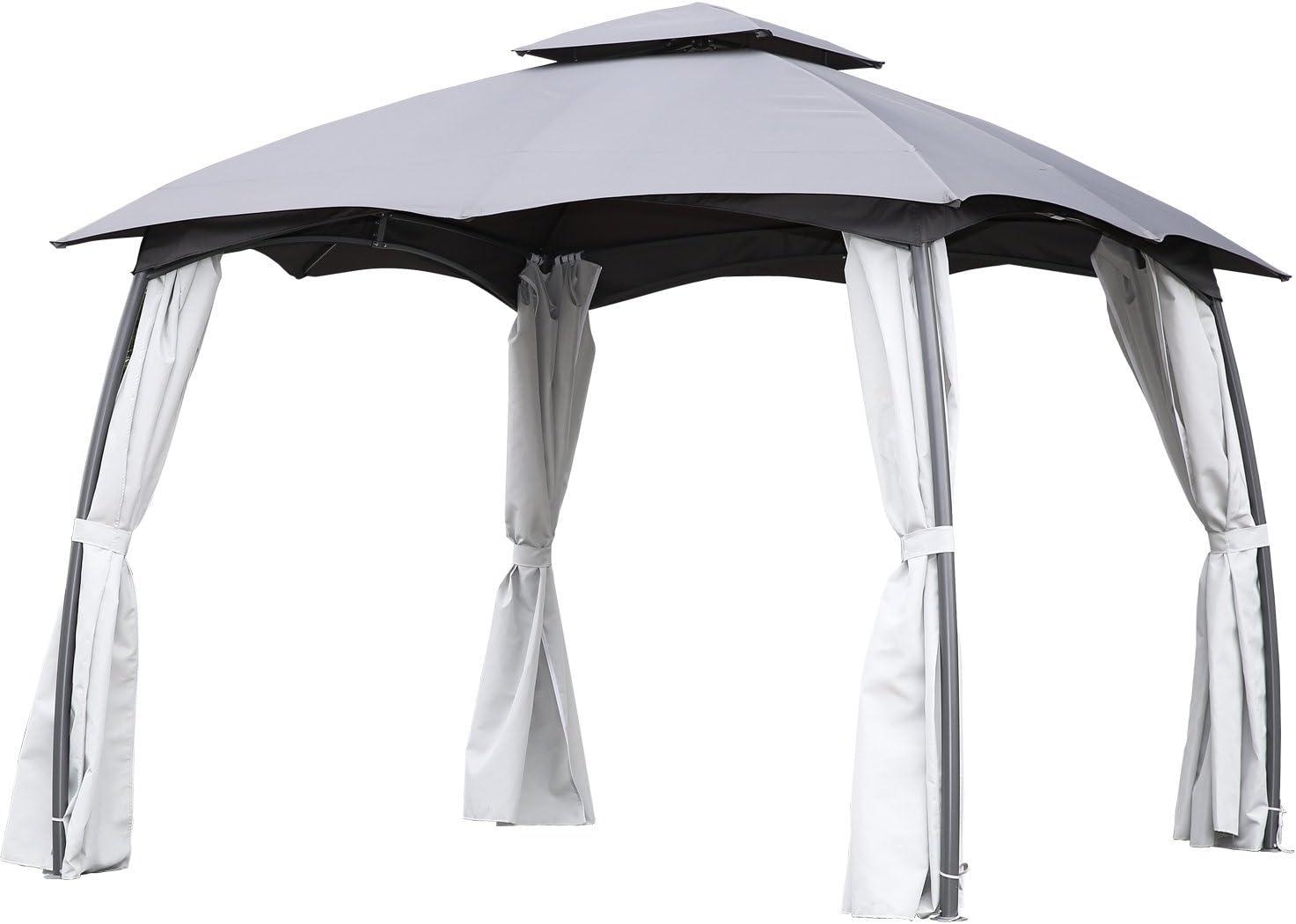 Angel Living Cenador de Acero con Techo al Aire Libre, Pabellón con Diseño Elegante y Estable, Gazebo con Mosquitera de 4 Cremalleras para Fiesta (3X3 m)