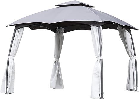 Angel Living Cenador de Acero con Techo al Aire Libre, Pabellón con Diseño Elegante y Estable, Gazebo con Mosquitera de 4 Cremalleras para Fiesta (3X3 ...