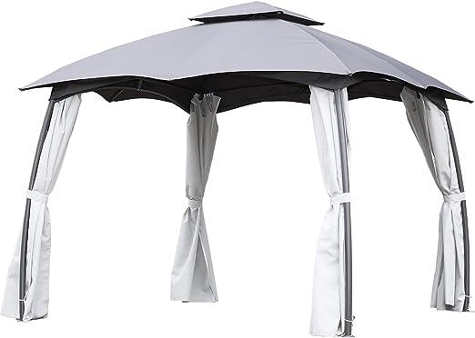 Angel Living Cenador de Acero con Techo al Aire Libre, Pabellón con Diseño Elegante y Estable, Gazebo Impermeable ...
