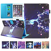 iPad 9.7 Inch 2017 /iPad Air 2/ iPad Air Cover, UUcovers Magnetic Stand Folio Elk Wallet Protective Case [Stylus/Card Slots] Auto Sleep /Wake Case for New iPad 9.7 2017/iPad Air 1 2, Christmas Reindeer