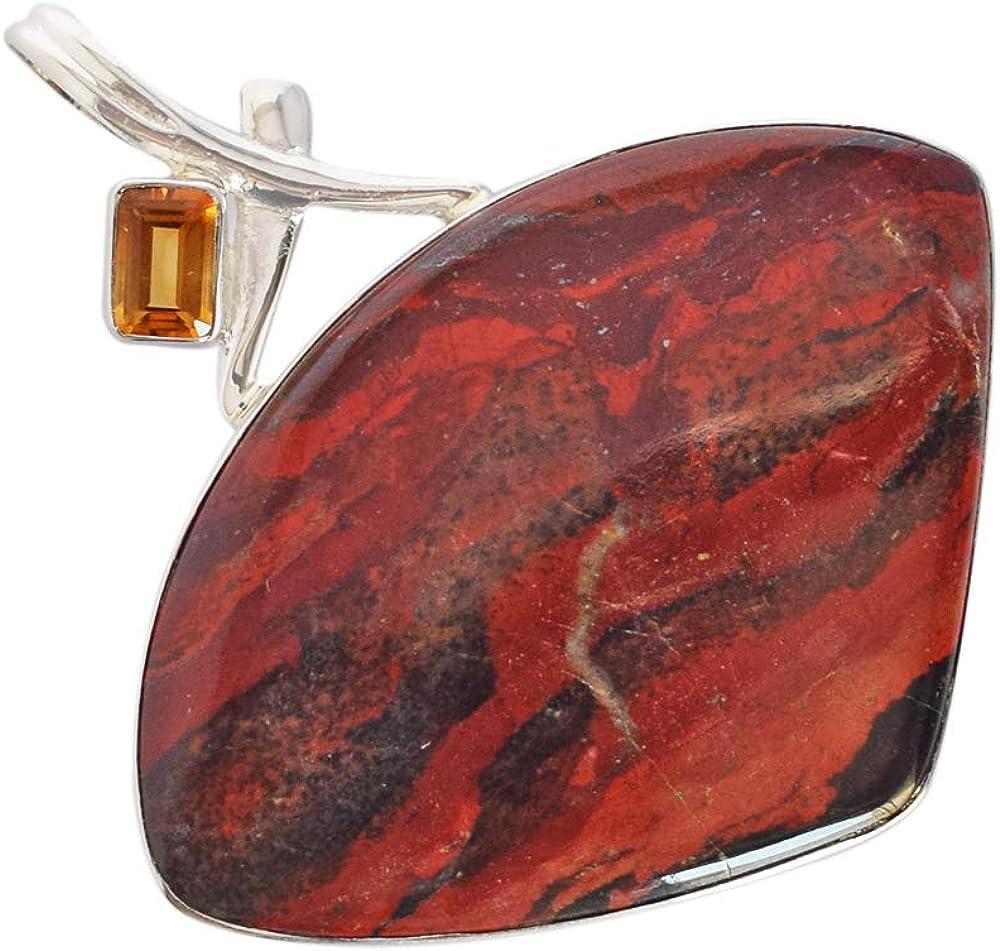 Ravishing Impressions Jewellery Colgante Delicado de Jaspe Rojo Natural de río Jasper con Piedras Preciosas de Citrino, joyería Hippie, Regalos de Plata de Ley, joyería Boho Hecha a Mano FSJ-4306