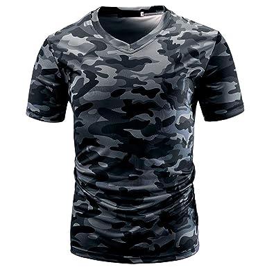 52b41b13929 Amazon.com  Men Military Camo T Shirts Casual V-Neck Short Sleeve BCDshop  Cool Tops Tee  Clothing