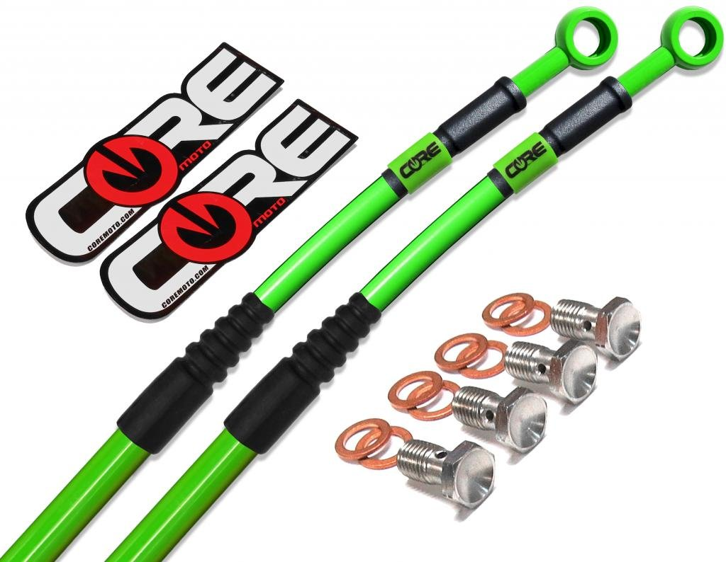 Core Moto CC0040-KG MX Front and Rear Brake Line Kit - Kawasaki Green for KX65 (00-16) by Core Moto (Image #2)