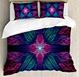 Plum Bedding and Curtain Sets Ambesonne Fractal Duvet Cover Set, Psychedelic Colorful Sacred Symmetrical Stained Glass Figure Vibrant Artsy Design, 3 Piece Bedding Set with Pillow Shams, Queen/Full, Plum Indigo