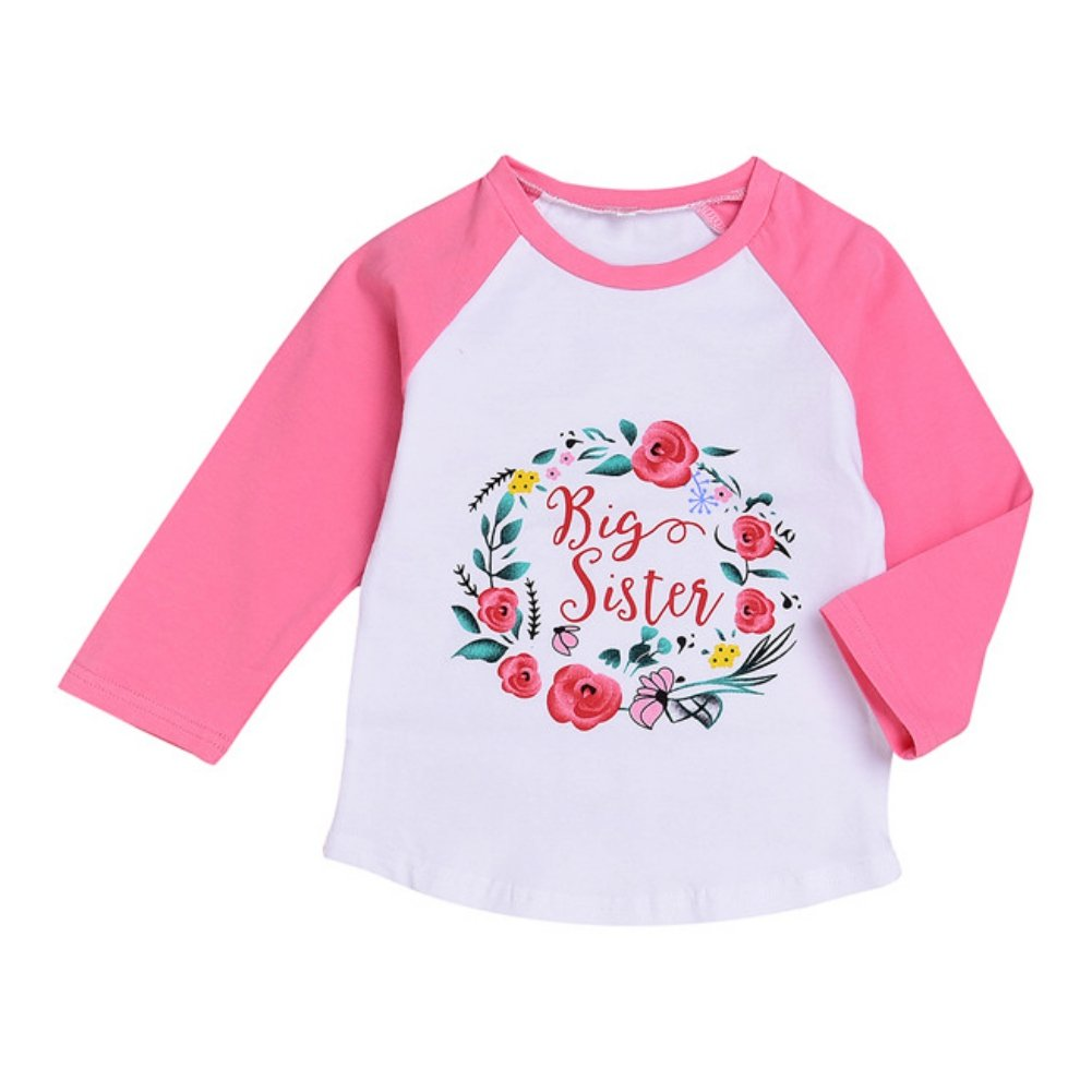 Baby Girl Sweatshirt Long Sleeve T-Shirt Spring Autumn Litter Sister Big Sister Printed Fashion Tops for 0-5 Years Old Princess