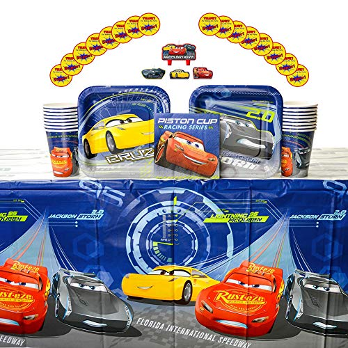 Cars 3 Party Supplies Pack for 16 Guests - Stickers, Candles, Dessert Plates, Beverage Napkins, Cups, and Table -