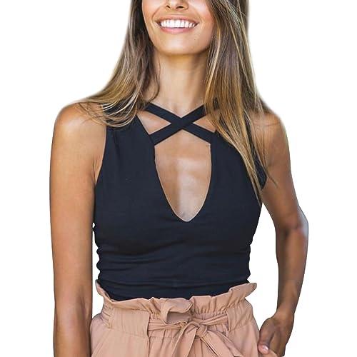 Canotte Donna T Shirt Senza Maniche V Collo Magliette Corte Crop Top Camicie Maglietta Estive Donna ...