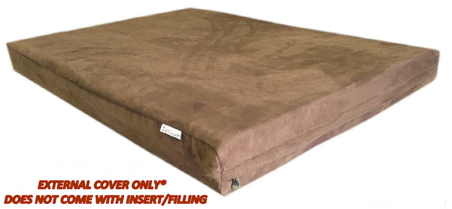 Dog Bed Cover: 40''x35''x4'' Deluxe Top Quality Chocolate Brown MicroSuede Fabric 100% Washable Resistant Anti Slip Luxury Comfort Replacement Dog Bed Zippered Duvet Gusset Case