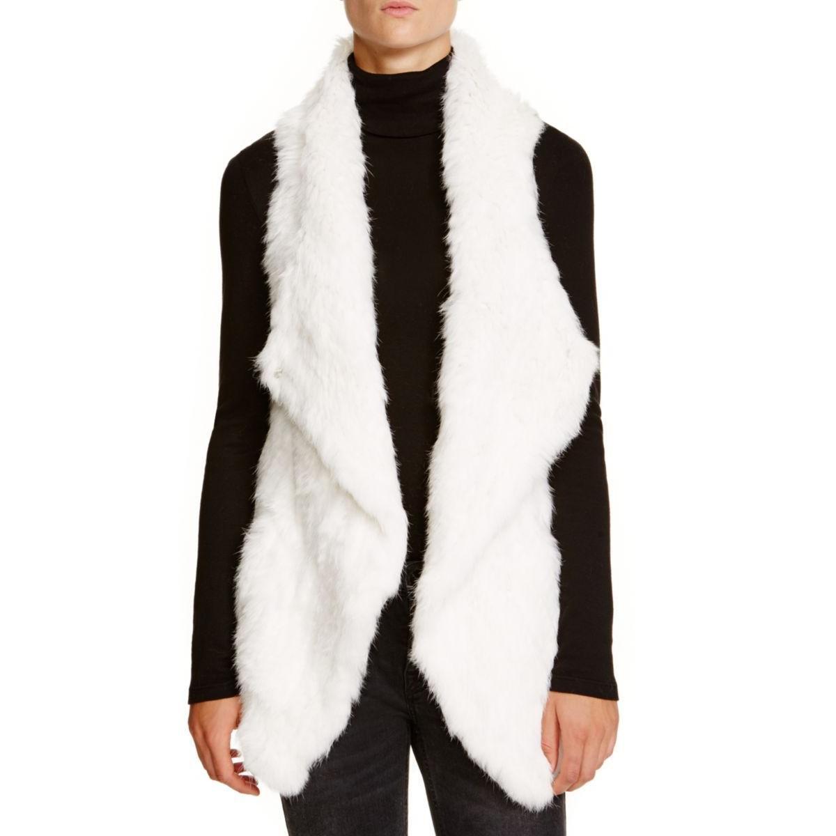 Private Label Womens Rabbit Fur Cashmere Vest White L