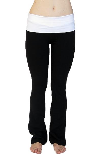 05613e27753253 Amazon.com  Popular Basics Women s Cotton Yoga Pants With Fold Down ...