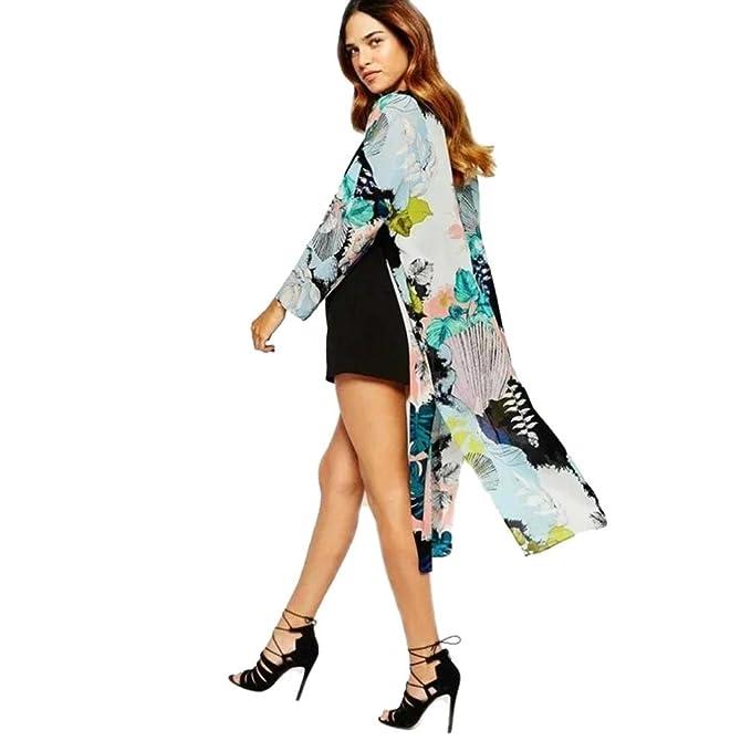 DEELIN Chaqueta Larga De La Blusa De Kimono De La ImpresióN De Bohemia De Las Mujeres
