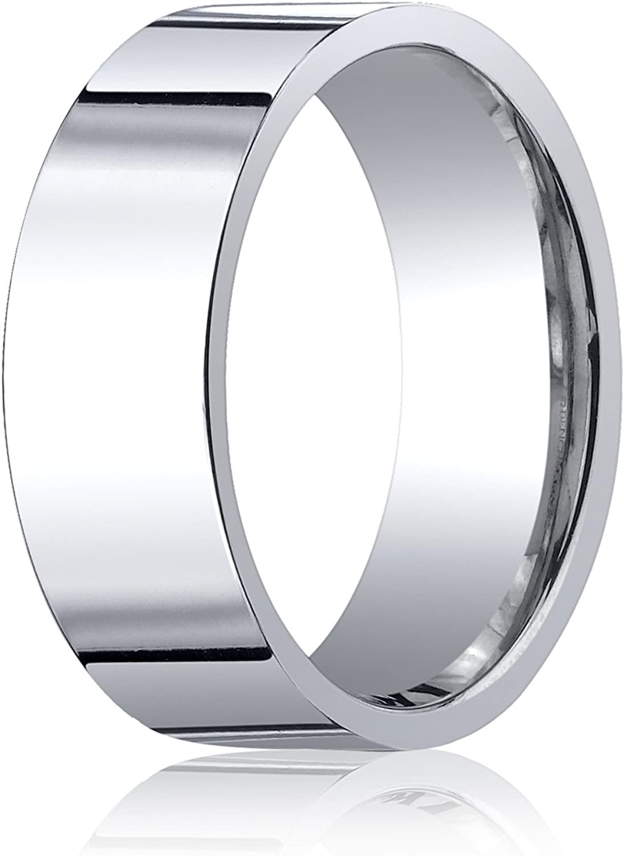 Mens 10K White Gold 8mm Flat Edged Wedding Band Ring