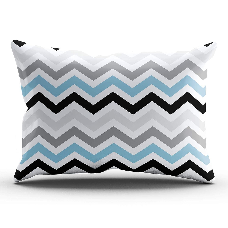 JIENIFO Pillowcases Dusk Blue Black Gray Chevron Zigzag Pattern Customizable Cushion Decorative Rectangle 20x36 Inch King Size Throw Pillow Cover Case Hidden Zipper One Side Design Printed