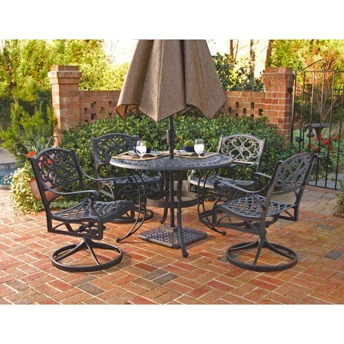 Home Styles 5554-325 Biscayne 5-Piece Outdoor Dining Set, Black Finish, 48-Inch