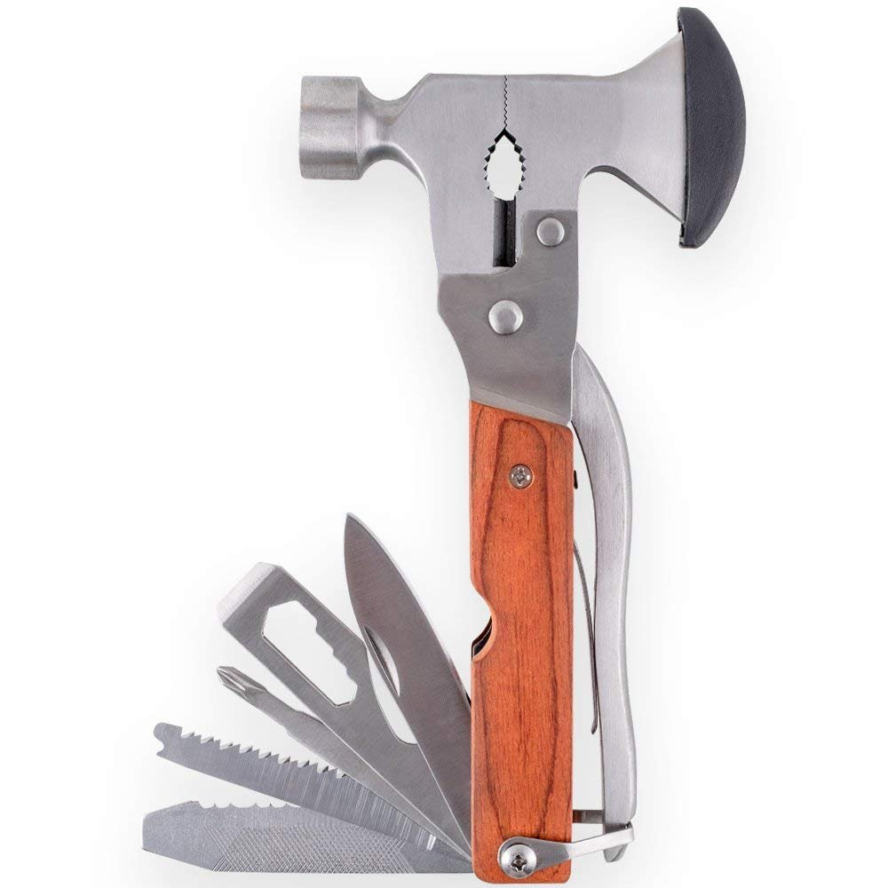 Multitool Portable Emergency Escape Axe Hammer,16-in-1 Multi-function Alloy Steel Hammer-axe with Plier, Knife, Can Opener, Screwdriver & More