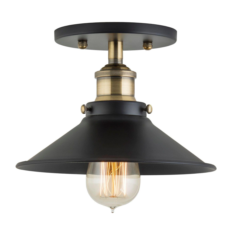 Andante industrial vintage ceiling light fixture black w antique brass semi flush mount ceiling light ll c407 ab amazon com