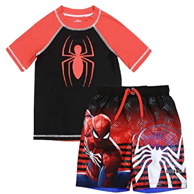 fed6b8c4ce8e7 Amazon.com: Spiderman Marvel Little Boys Rash Guard and Swim Trunks Set,  Black(7): Clothing