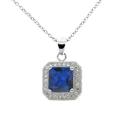 Sarotta Jewelry Pendant Oval Cut Blue Sapphire Cubic Zirconia Free Necklace