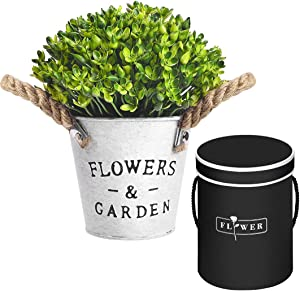 Artificial Potted Plants - Fake Plants Eucalyptus Plant, Plastic Flower Plants with Black Haute Couture Gift Box for Home, Kitchen, Indoor Outdoor Decor. (A- Green Artificial Potted Plants)