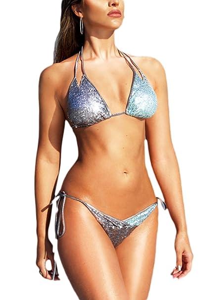 Las Mujeres Verano Caliente Apretado Traje De Baño Bikini Tanga De Lentejuelas De Playa Honda