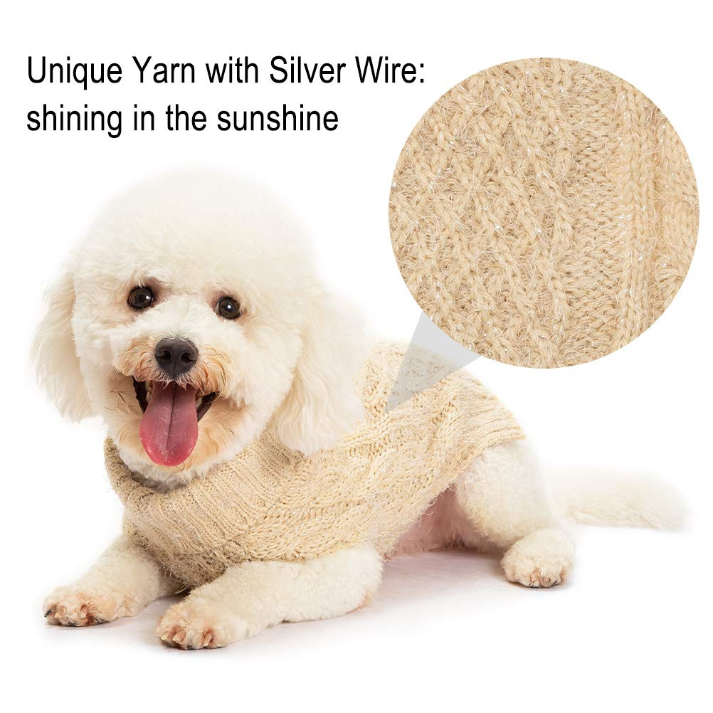 Feather Yarn Glittered with Silver Wire Keep Warm for Doggies Puppy SCIROKKO Turtleneck Dog Sweater Classic Cable Knit Winter Coat