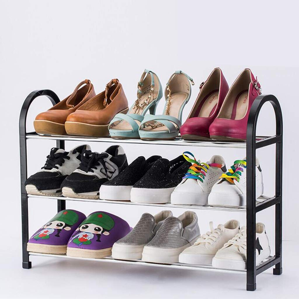 62MJ Multifunctional Porch Shoe Rack 3 Layers Black (Color : 60X20X42CM) by 62MJ