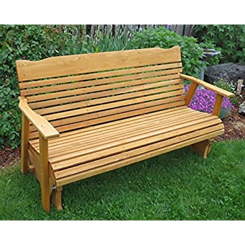 5u0027 Cedar Porch Glider W/stained Finish, Amish Crafted