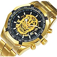 CALUXE Gold Skull Watch Men Imported Mechanical Movement Stainless Steel Band Skeleton Auto Wrist Watch