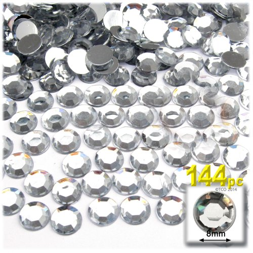 The Crafts Outlet 144-Piece Flat Back Loose Acrylic Round Rhinestones, 8mm, Crystal Clear