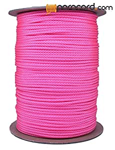 BoredParacord - 1', 10', 25', 50', 100' Hanks & 250', 1000' Spools of Parachute 550 Cord Type III 7 Strand Paracord Well Over 300 Colors - White w/Neon Pink Diamonds - 1000 Foot Spool