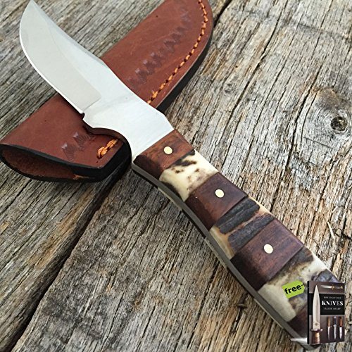 STEEL STAG Genuine Deer Stag Skinner Hunting Hunting Tactical Fixed Blade Sharp Knife NEW W/Leather Sheath SS-7027 + Free eBook By SURVIVAL STEEL