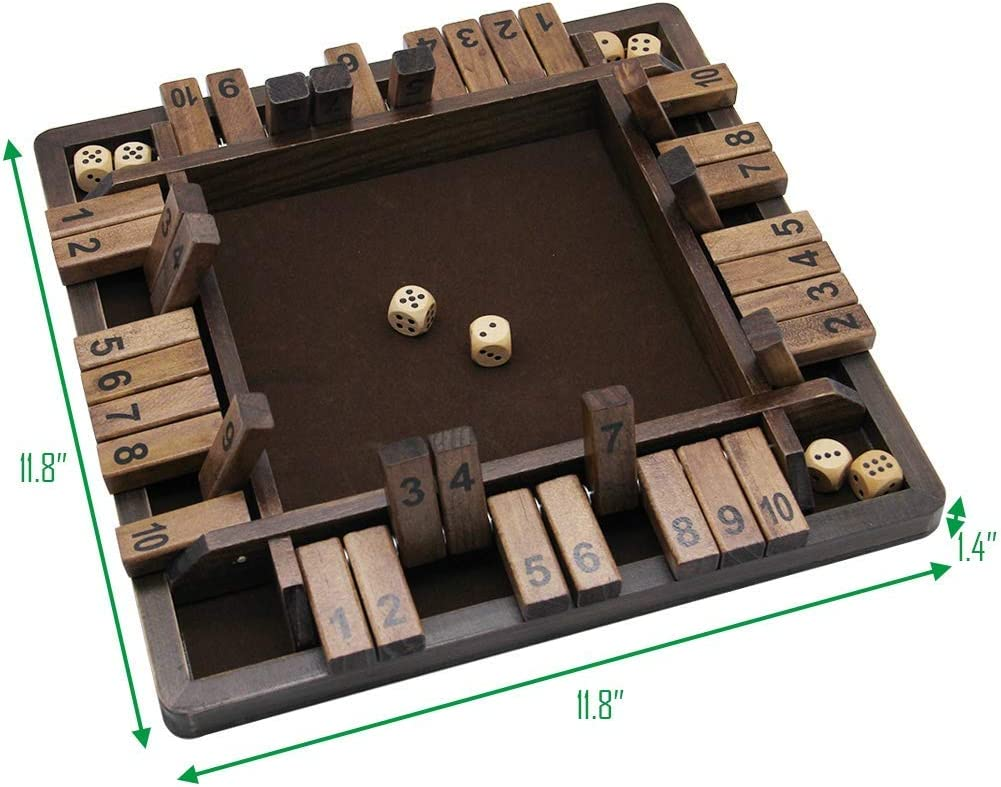 TUAHOO 4-Player Shut The Box Game 10 Numbers Dice Math Game for Kids and Adults Family Table Wooden Board Game for Learning Addition
