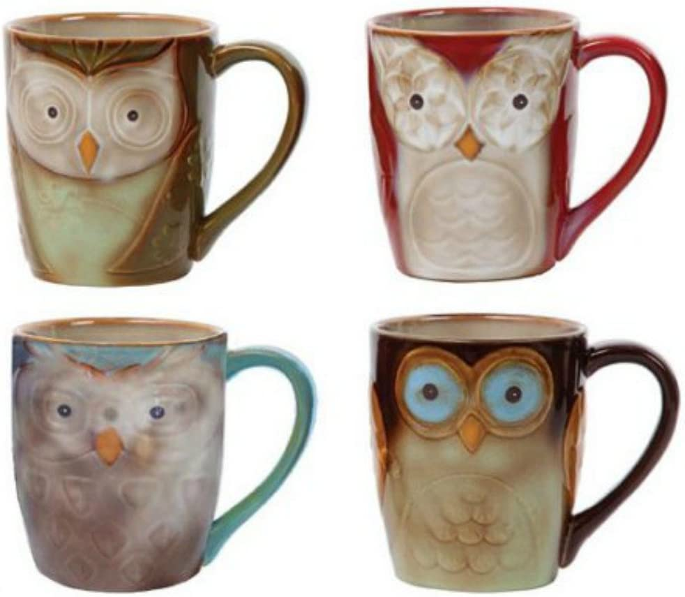 Coffee Cup setby Gibson Owl City 17 ozMug Set Assorted colors 4 piece set Hand painted