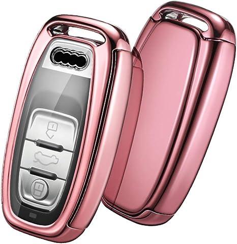 Verpackung:MEHRWEG Silber Autoschl/üssel H/ülle Audi,Schl/üsselh/ülle Cover Case f/ür Audi A4 A5 A6 A7 Q5 Q7 Q8 RS SQ Seat 3-Tasten Keyless Schl/üsselbox