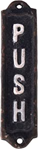 "NIKKY HOME Retro Cast Iron Vertical Push Door Sign for Shop Home Decor 6"", Black White"