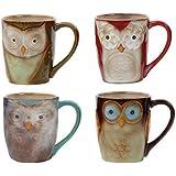 Espresso size Set with 2 mugs /«Owl/» 6.6 fl oz Pottery coffee mug