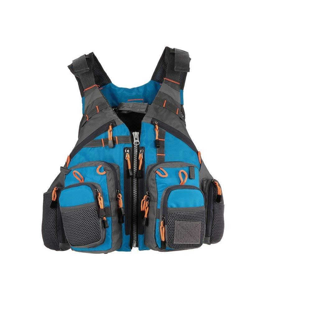 blueeewith foam MYSportsworld Fly Fishing Vest,Fishing Safety Life Jacket Breathable Polyester Mesh Design Fishing Vest for Swimming Sailing Boating Kayak Floating(Foam Without Foam Optional)
